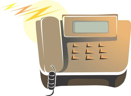 touchtone: Illustration of brown coloured telephone with display
