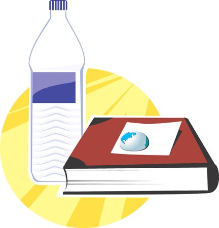 paperweight: Illustration of book and water bottle