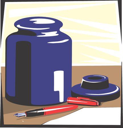 inkpot: Illustration of fountain pen and inkpot