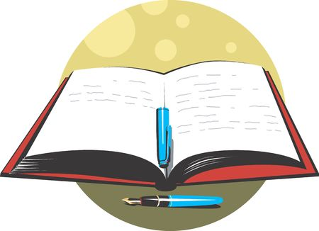 Illustration of a pen and book  Stock Photo