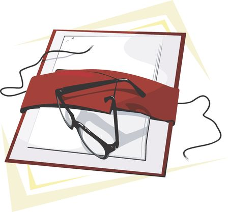 spectacle frame: Illustration of a spectacle on top of a file