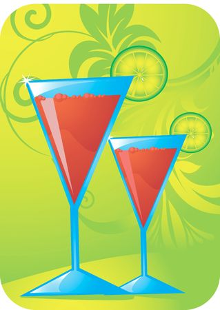 Illustration of two goblets in floral background  illustration