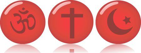 simbolos religiosos: Ilustraci�n de tres rondas con los s�mbolos religiosos