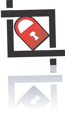 Illustration of a key tag in black square  illustration