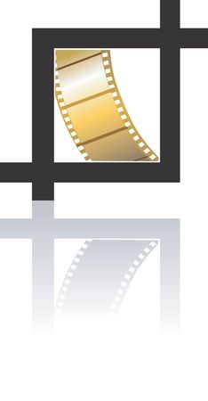 photoshop: Illustration of a golden film in black square  Stock Photo