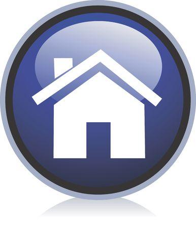 manos logo: Ilustraci�n de una casa en una ronda