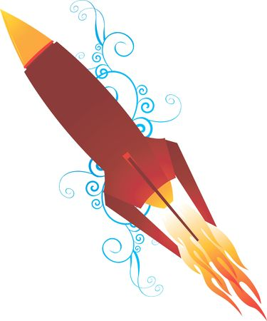 warhead: Illustration of a rocket with flame