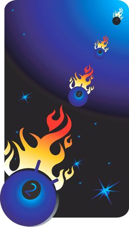 Illustration of a objects in space with fire Stock Illustration - 3004355