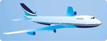 Illustration of a aeroplane flying in blue background