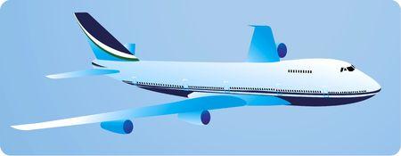 warhead: Illustration of a aeroplane flying in blue background