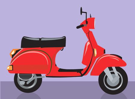 motorised: Illustration of a red scooter   Stock Photo