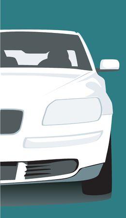 motorised: Illustration of a white car isolated