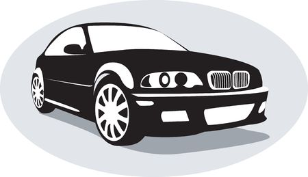 Illustration of a black car isolated