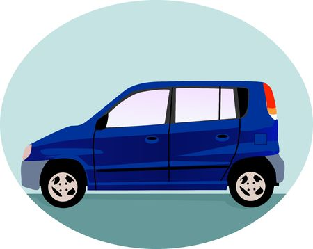 motorised: Illustration of a blue car isolated