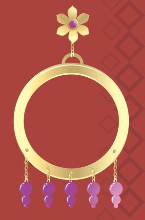 perle rose: Illustration de l'oreille, bague en or avec perle rose