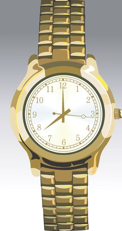 time keeping: Illustration of golden wrist watch  Stock Photo