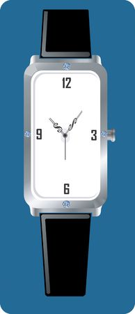 time keeping: Illustration of silver colour  wrist watch