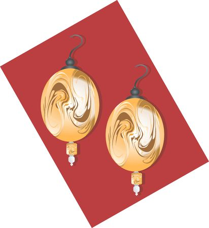 Illustration of golden ear ring with pearl  illustration