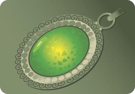 Illustration of locket mounted with green gemstone  illustration