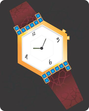 time keeping: Illustration of golden diamond studded wrist watch