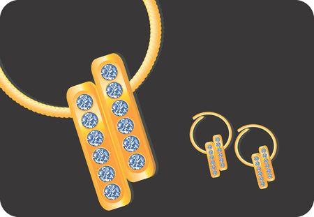 Illustration of golden earring with diamond  illustration