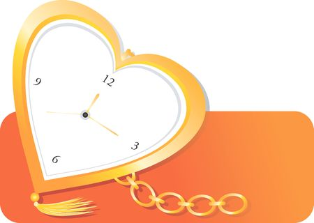 time keeping: Illustration of golden pocket watch in heart shape