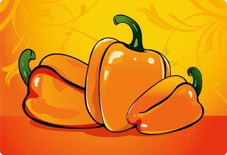capsicum: Illustration of capsicum in orange background