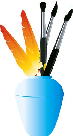 inkpot: Illustration of quills and brushes in a and inkpot