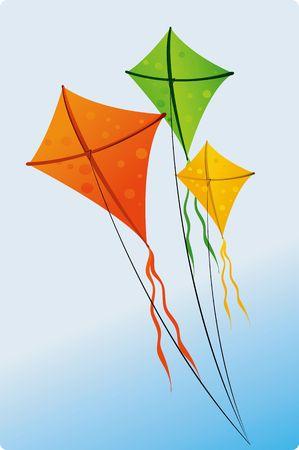 papalote: Ilustraci�n de coloridas cometas  Foto de archivo