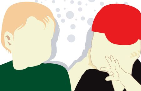 Illustration of silhouette of two children