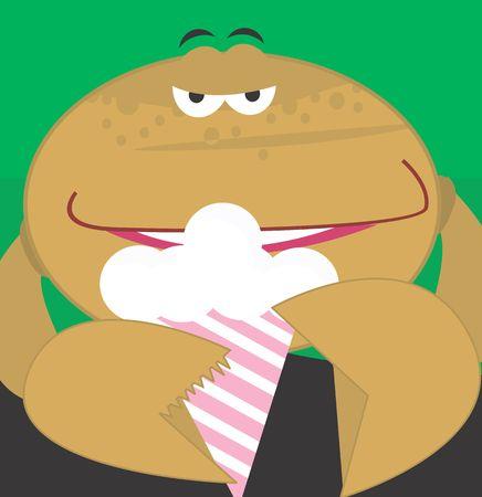 Illustration of cartoon crab eating ice creme  illustration