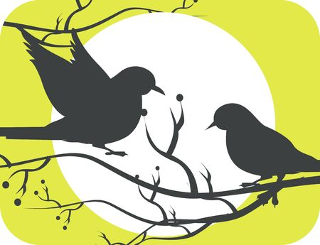 Illustration of two silhouettes of doves in sun  illustration