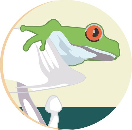 croaking: Illustration of a green frog sitting on a white coloured mushroom  Stock Photo