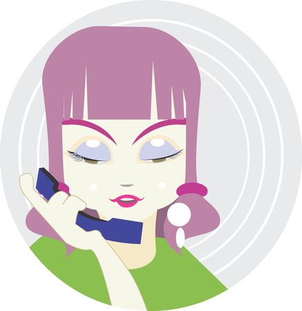 Illustration of a lady speaks through telephone.  illustration
