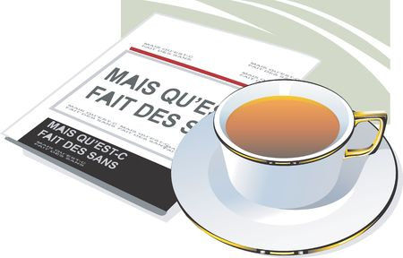 hotter: Illustration of a cup of tea placed near a newspaper