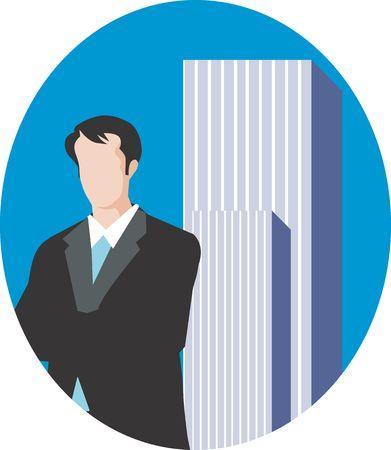 Illustration of a businessman standing near a big building  illustration
