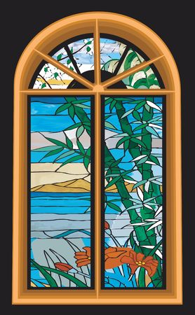 fabrication: Illustration of decorated stained glass window