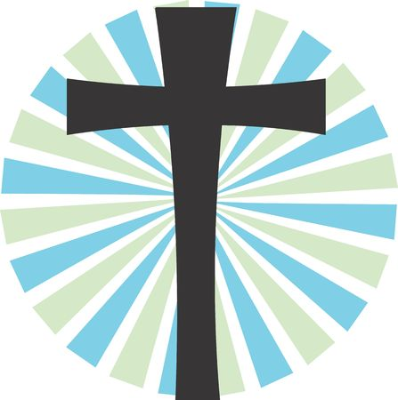 Illustration of a symbol of black cross in radiant beam