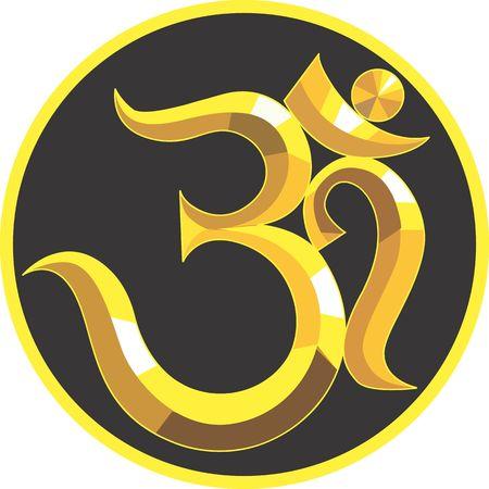 Illustration of a symbol of golden Om Stock Illustration - 3012447