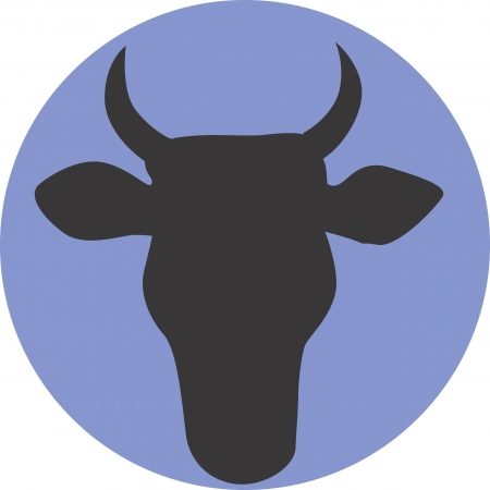 Illustration of a symbol of cow in blue background  illustration