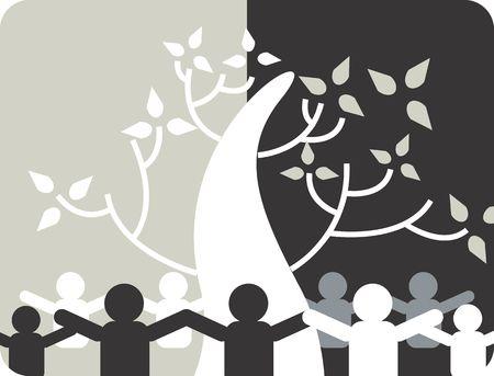Illustration of a symbol of group pf man circling around a tree  illustration