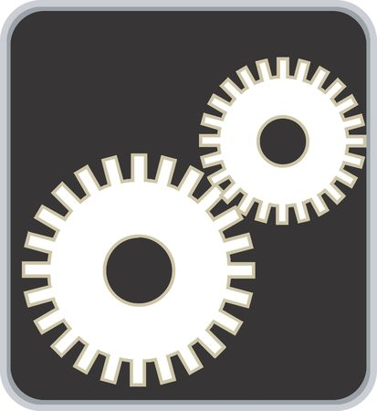 Illustration of symbol of two gear in synchronisation  illustration