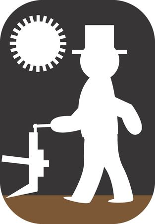 Illustration of symbolic man ploughing the field Stock Illustration - 3013311