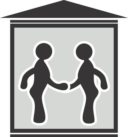 cordial: Illustration of symbol of two men meeting