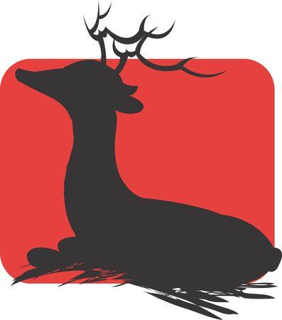 Illustration of a symbol of horn deer resting in a grass land  illustration