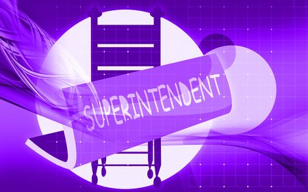 superintendent: Illustration of a superintendent board near a chair  Stock Photo