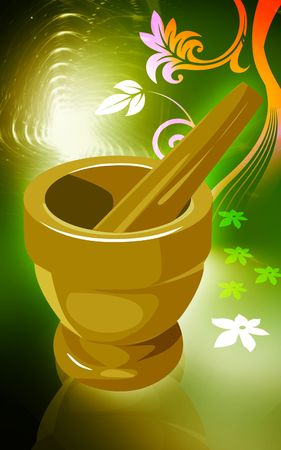 Illustration of bowl used for preparing Ayurvedic medicine