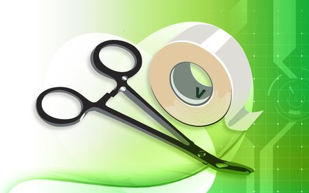 plastering: Illustration of a surgical scissor and plastering tape  Stock Photo