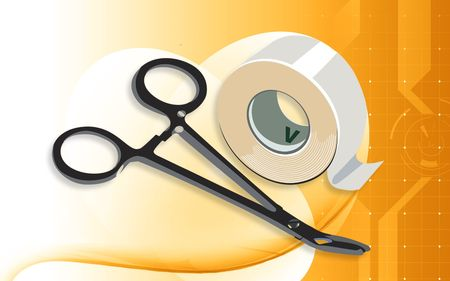 Illustration of a surgical scissor and plastering tape  Stock Photo