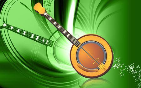 mandolino: Illustrazione di un mandolino con note di musica
